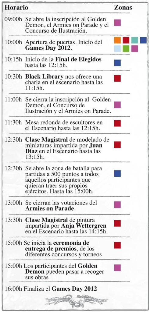 horario actividades games day 2012