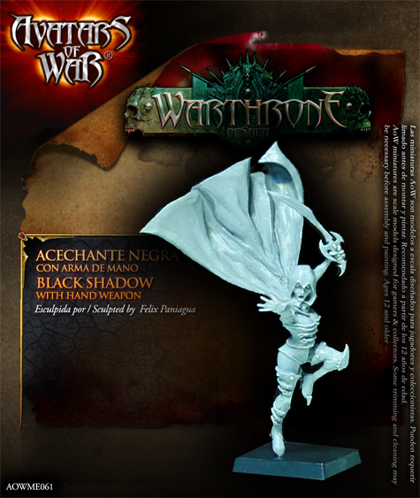 warthrone acechante negra con arma de mano