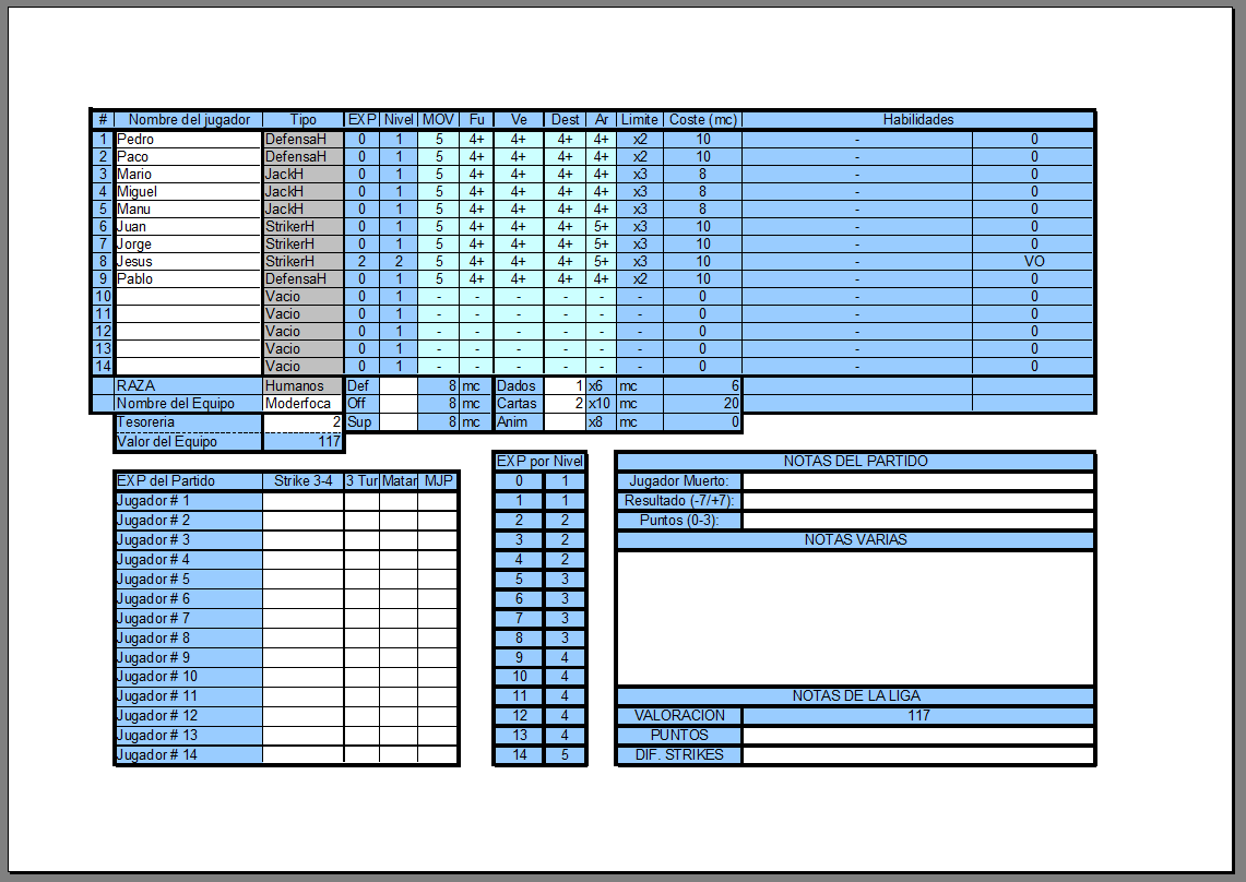 Vista previa para imprimir del Roster