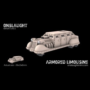 Esta limusina de Onslaugh Miniatures es fantástica como proxie para la Camioneta del Demagogo.