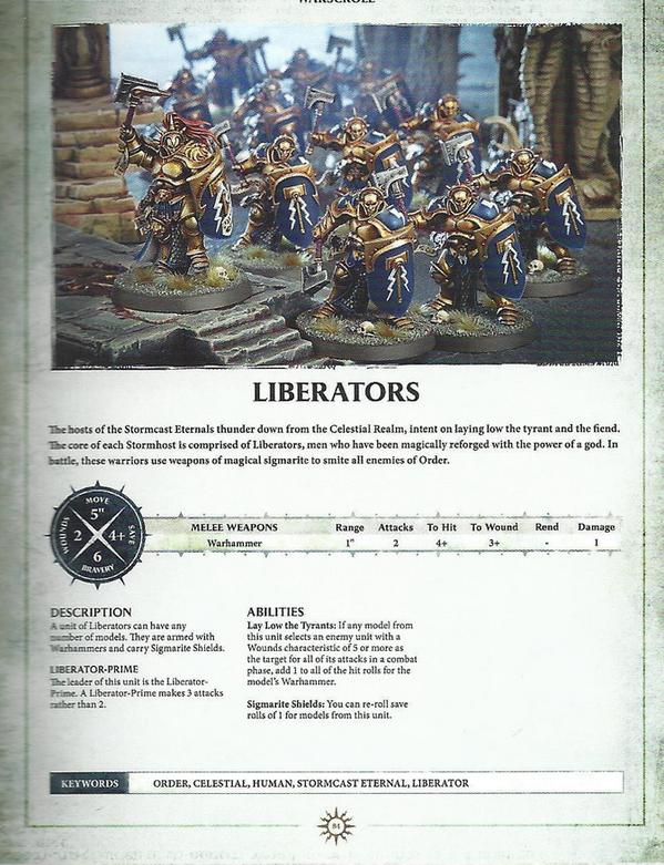 Warhammer AOS Warscroll Liberators