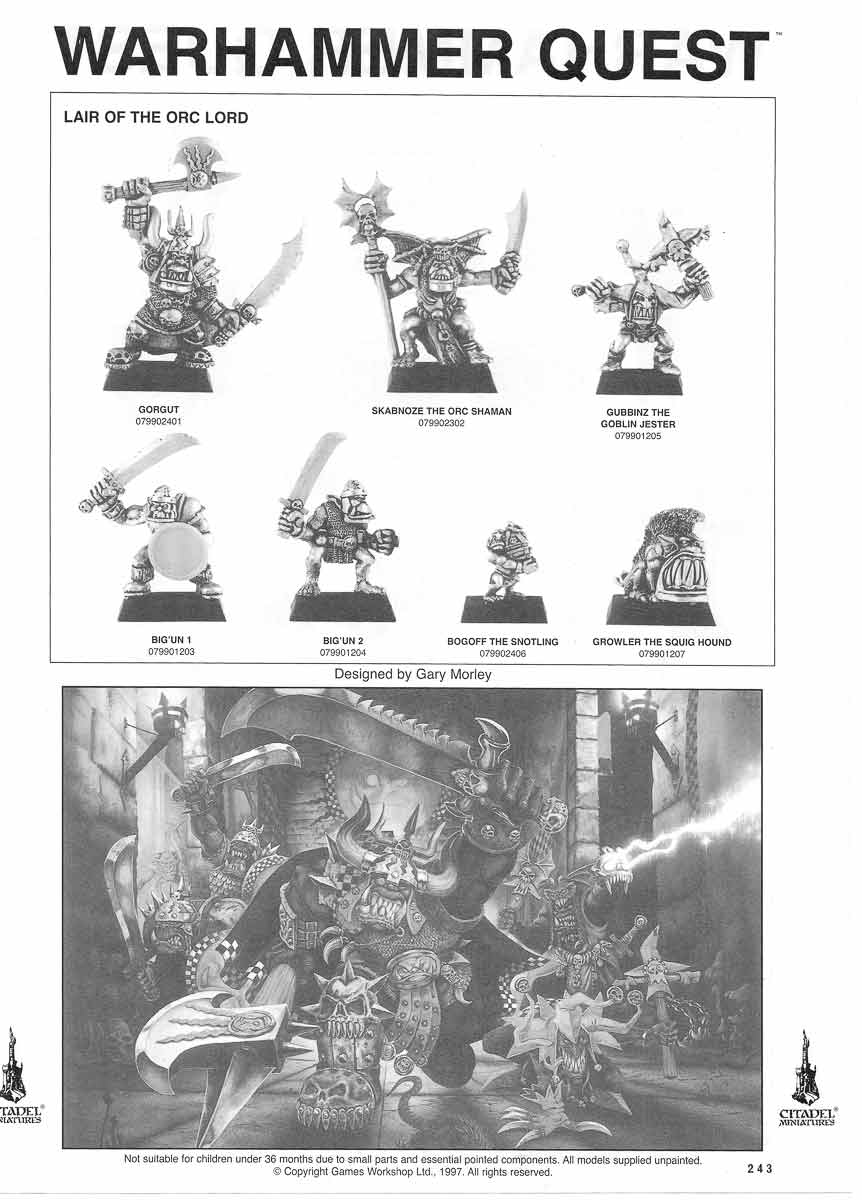 Warhammer Quest Lair of the Orc Lord miniatures
