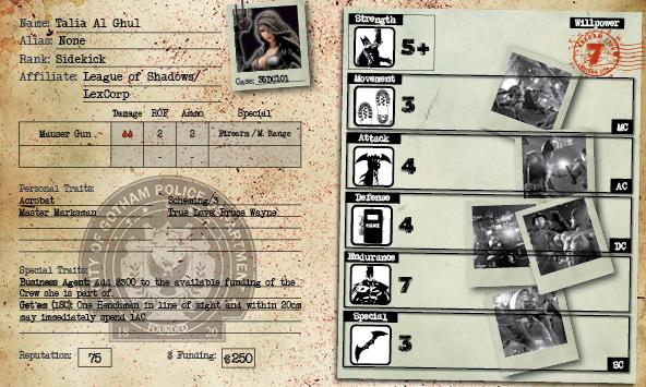 Tarjeta Talia Al Ghul - Comics Tarjeta